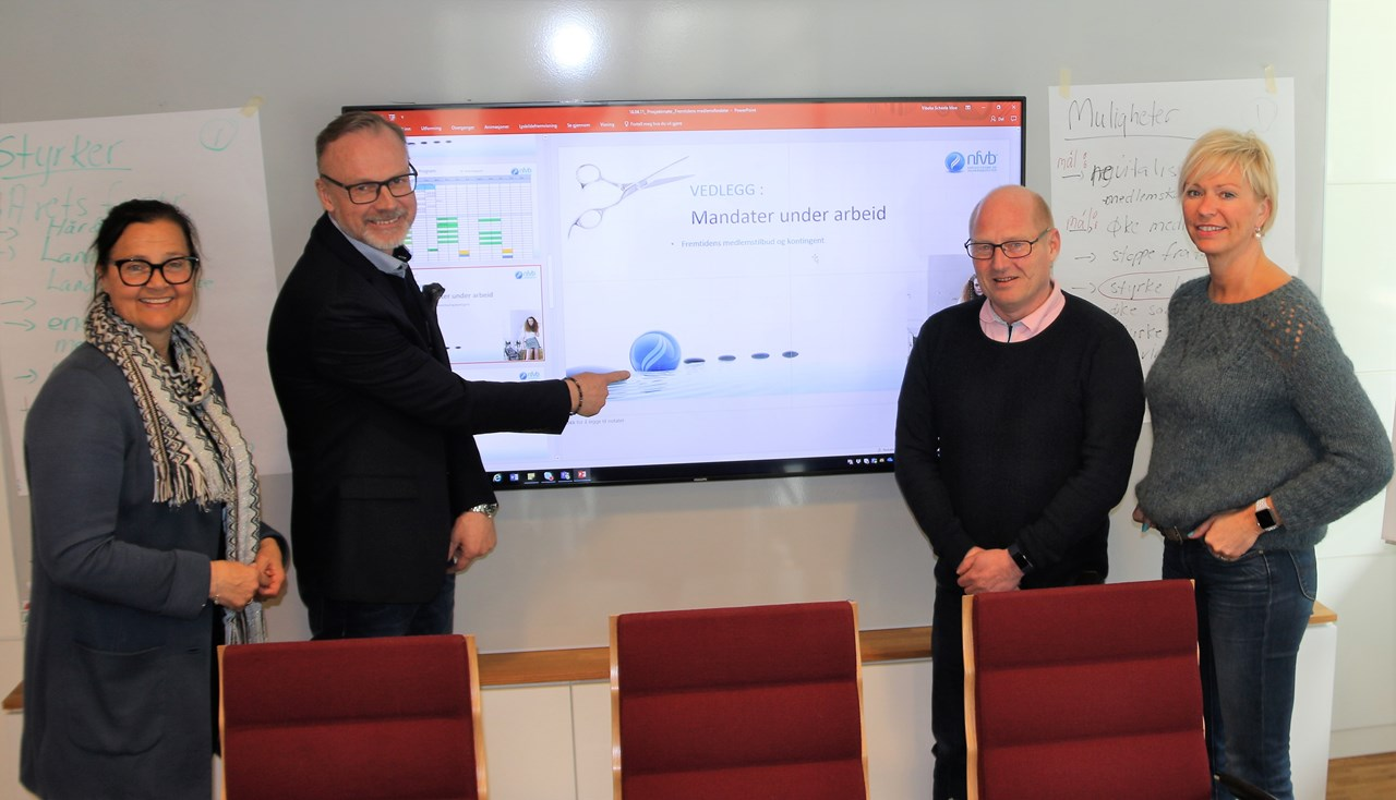 Hvert prosjekt har en arbeidsgruppe, med én «prosjekteier» fra styret. Her er programsjef Vibeke Scheele Moe på gruppearbeid med Lars Terje Skjæveland, Jørn Inge Næss og Merethe Kjellnes.
