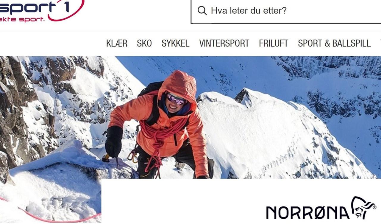 Skjermbilde av nettportalen til Sport1.