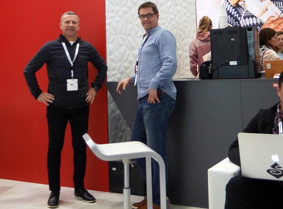 Tidligere administrerende direktør i Active Brands Espen Krogstad til venstre og kommersiell direktør i Active Brands, Erik Hegbom.