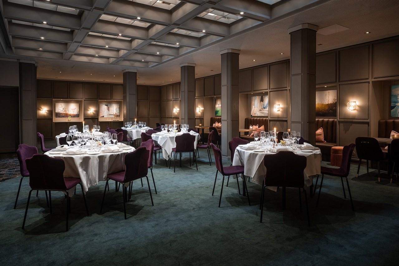 Elegant meeting room decorated with works of art by the Norwegian visual artist Vibeke Slyngstad