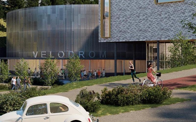 Tegning av den planlagte Velodromen i Asker.