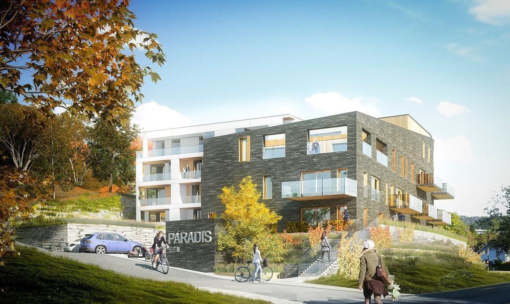 Tidligere illustrasjon av prosjektet. Endelig boligprosjekt kan ha en annerledes utforming enn illustrasjonen viser.