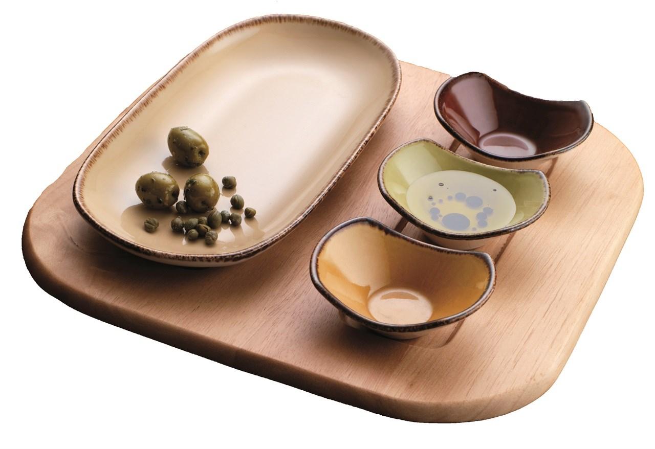 Steelite Terramesa kommer i fire farger, og mange former. Serien passer svært godt til tapas.