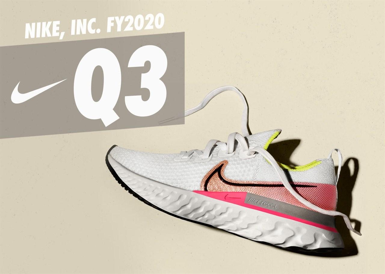 Nike rapporterte 3. kvartalstallene i forrige uke. 3. kvartalet ble avsluttet 29. februar 2020.