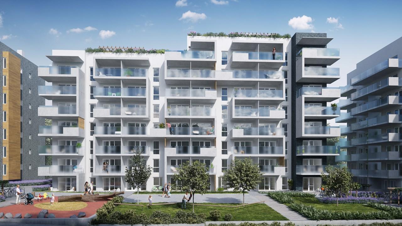 Foreløpig prosjektskisse for Losbyveien Trinn 3, et nytt boligbygg over 8 etasjer