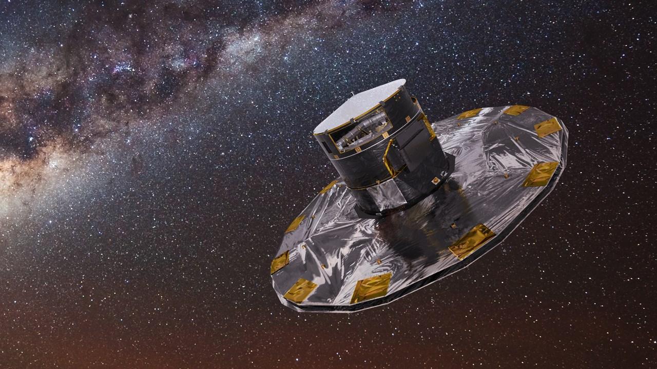 Gaiasatellitten med Melkeveien i bakgrunnen. Illustrasjon: ESA/ATG medialab