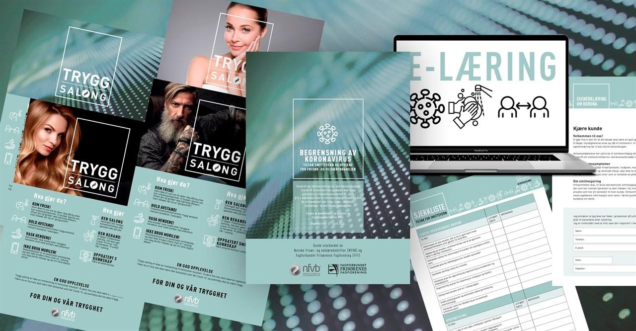 Plakater i mange varianter, tiltaksguide, sjekkliste, egenerklæring og ikke minst et e-læringskurs har bidratt til koronakunnskap i salongene.