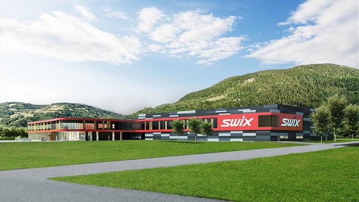 Slik vil det ferdige Swix-bygget se ut når det står ferdig til sommeren. Illustrasjon: Arcasa arkitekter as.