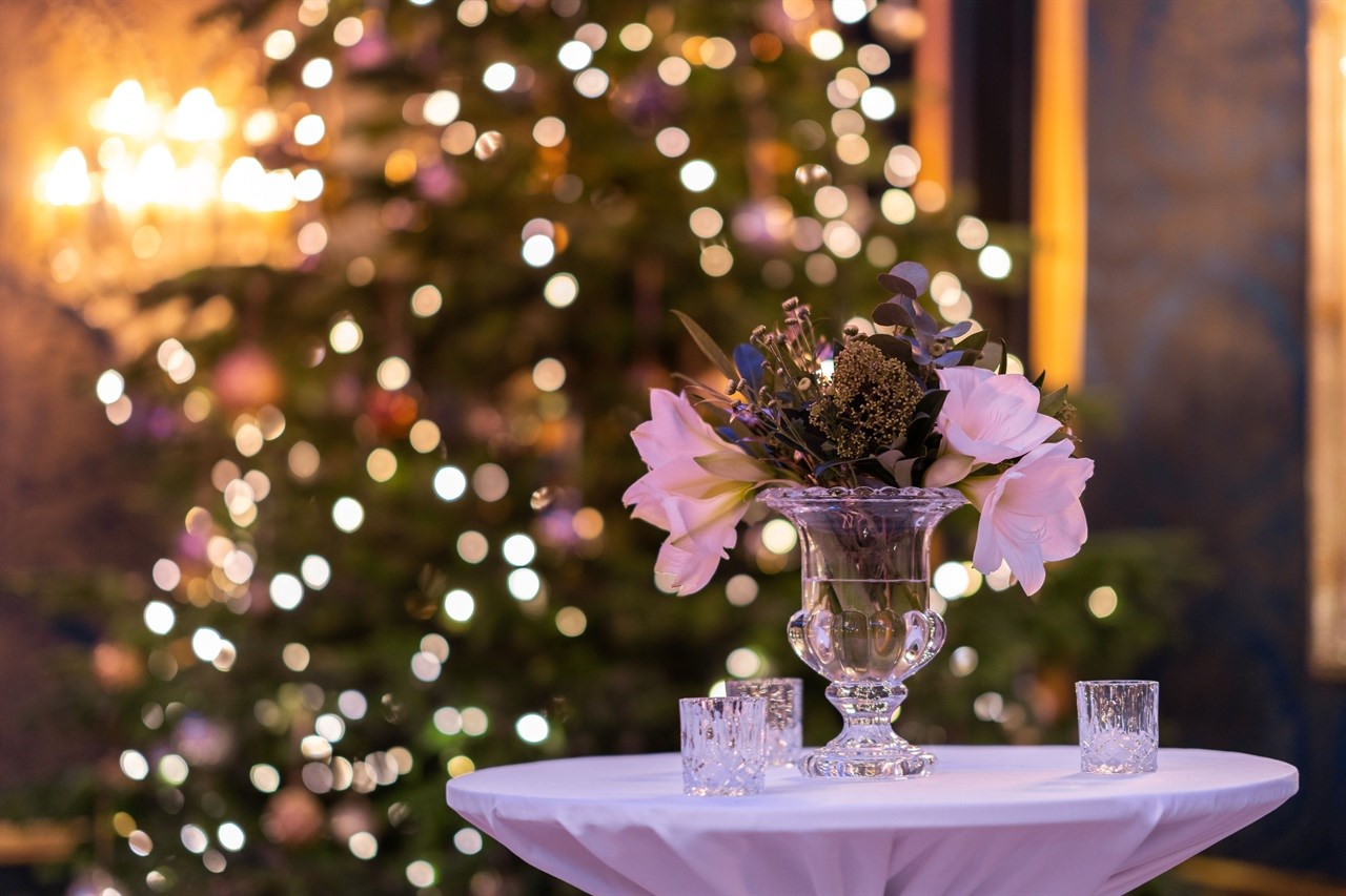 A Christmas-decorated Grand Hotel Oslo