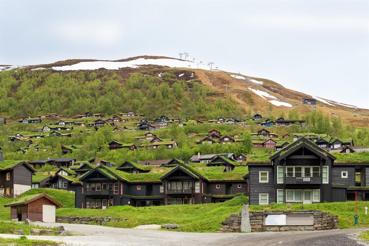 Tettbygd hyttelandsby i Myrkdalen i Voss .