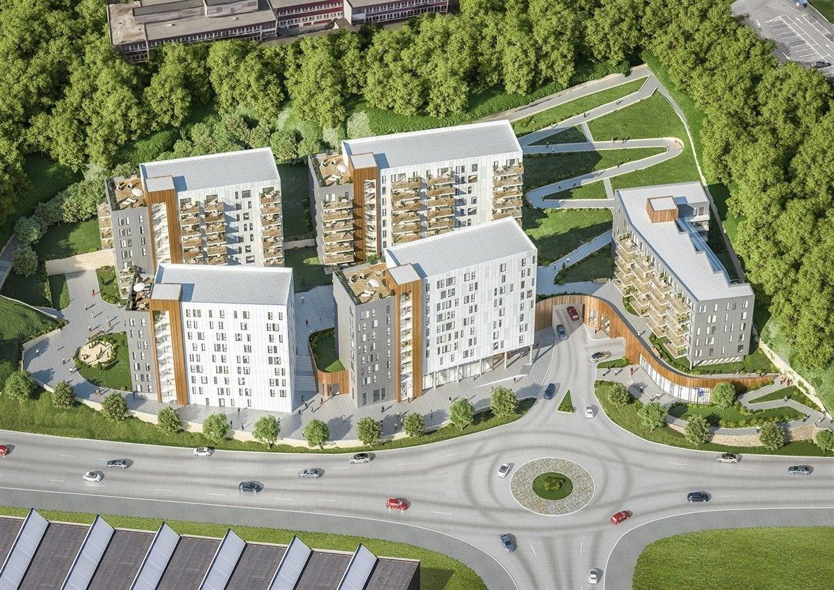 Illustrasjon av hele boligprosjektet til Profier ved Lagunen kjøpesenter i Bergen