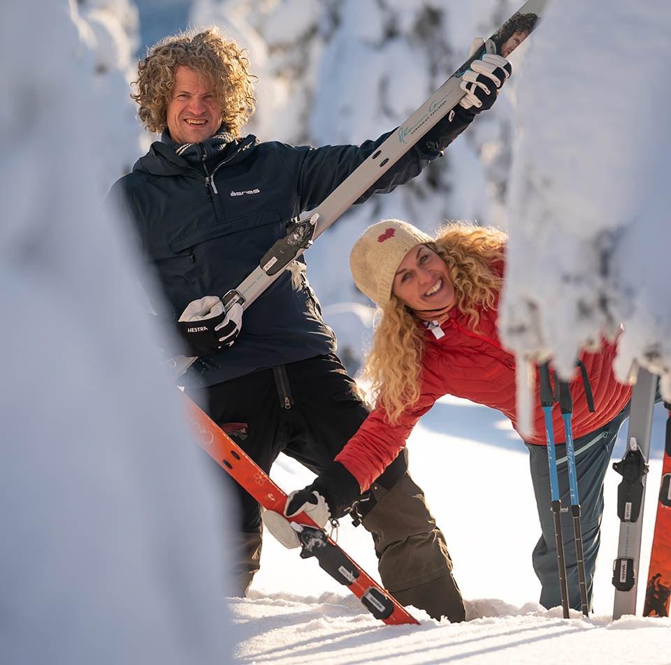 Cecilie Skog og Aleksander Gamme var blant de første som fikk teste Rottefella Xplore Off-Track fjellskibindinger og Alfa Free A/P/S fjellskisko.
