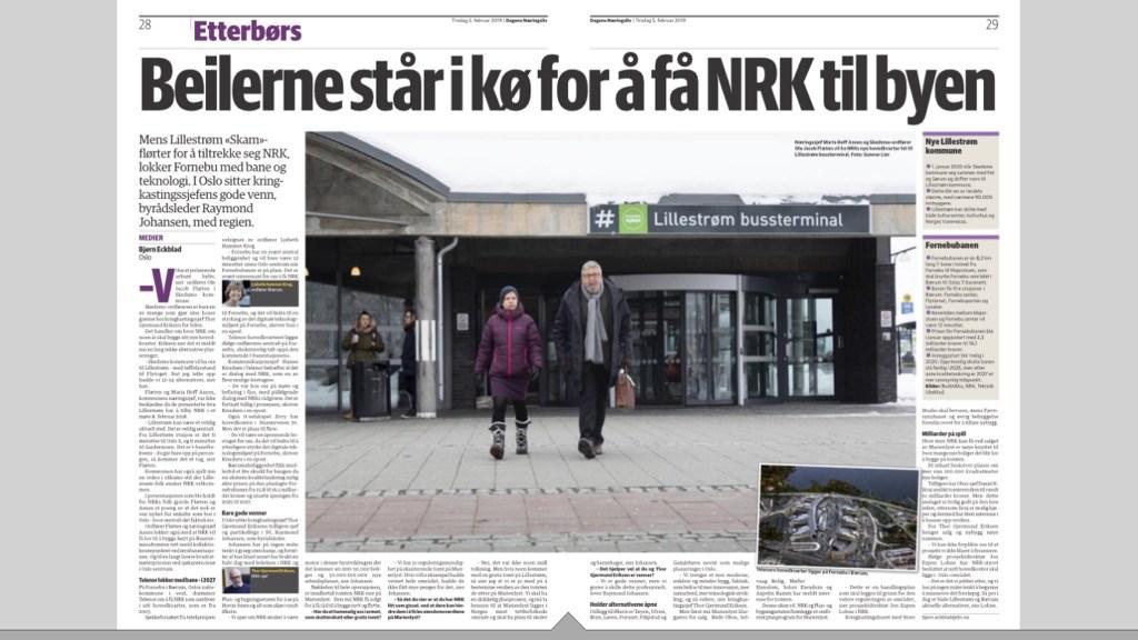 Næringssjef Maria Hoff Aanes (t.v.) og ordfører i Skedsmo kommune, Ole-Jacob Flæten, ønsker NRK hjertelig velkommen til Lillestrøm. Faksimile fra Dagens Næringsliv.