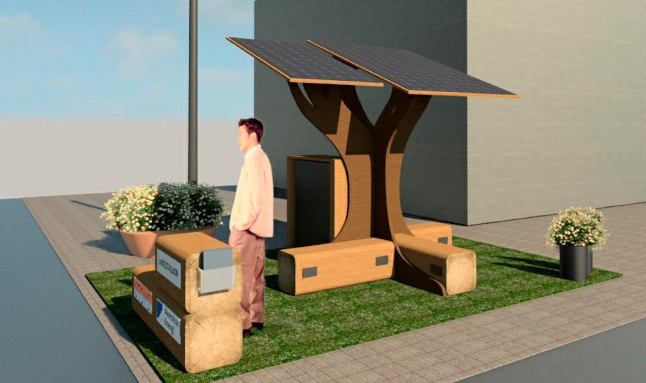 Kom på Byfesten og besøk Akershus Energi sitt Solcelle-tre! Du finner det midt i Storgata. <br/>Illustrasjon: Kapsel Design